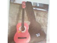 """Guitar. Childs pink 3/4 size (36"""") guitar. Rare Simpson design. In very good condition."""