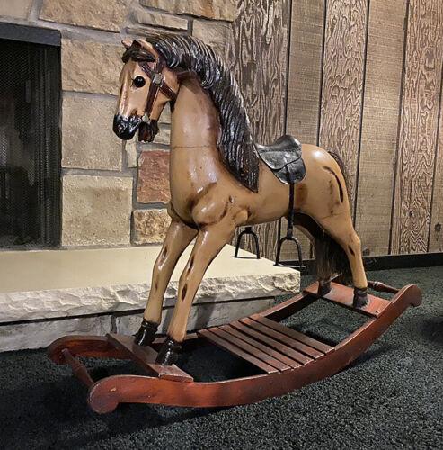 Vintage Wooden Carved Rocking Horse