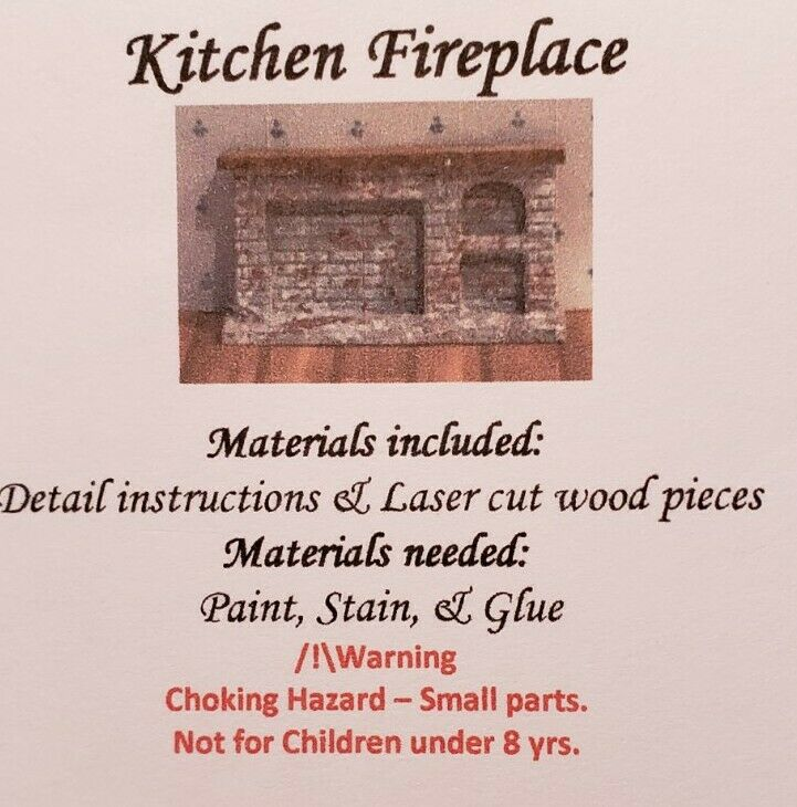 Dollhouse Miniature 1:144 Scale Brick with Wooden Mantle Kitchen Fireplace KIT