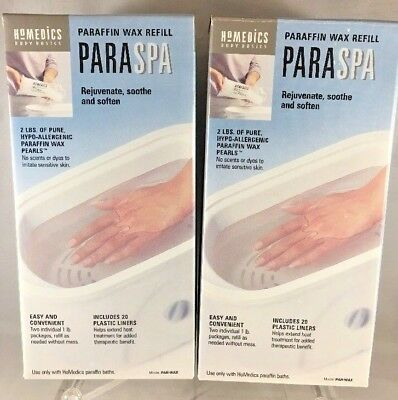 2 Boxes of HoMedics ParaSpa Paraffin Wax Refill Hypo-Allergenic *Fast Ship* T3