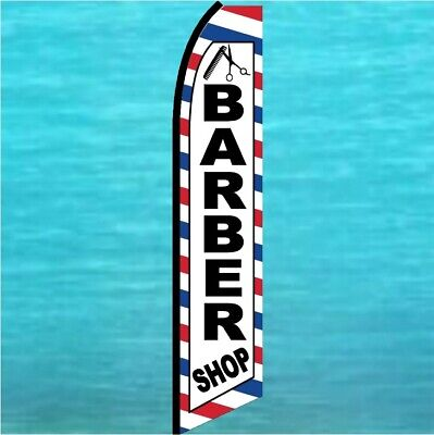 Barber Shop Flutter Flag Feather Swooper Tall Curved Advertising Banner Sign
