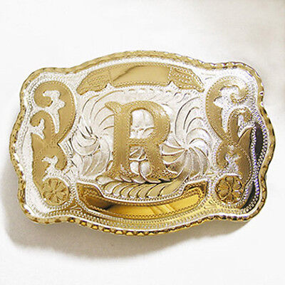 """Initial """"R"""" Letter Large Gold & Silver Rodeo Western Cowboy Metal Belt Buckle"""