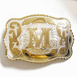 Initial-M-Letter-Large-Gold-Silver-Rodeo-Western-Cowboy-Metal-Belt-Buckle