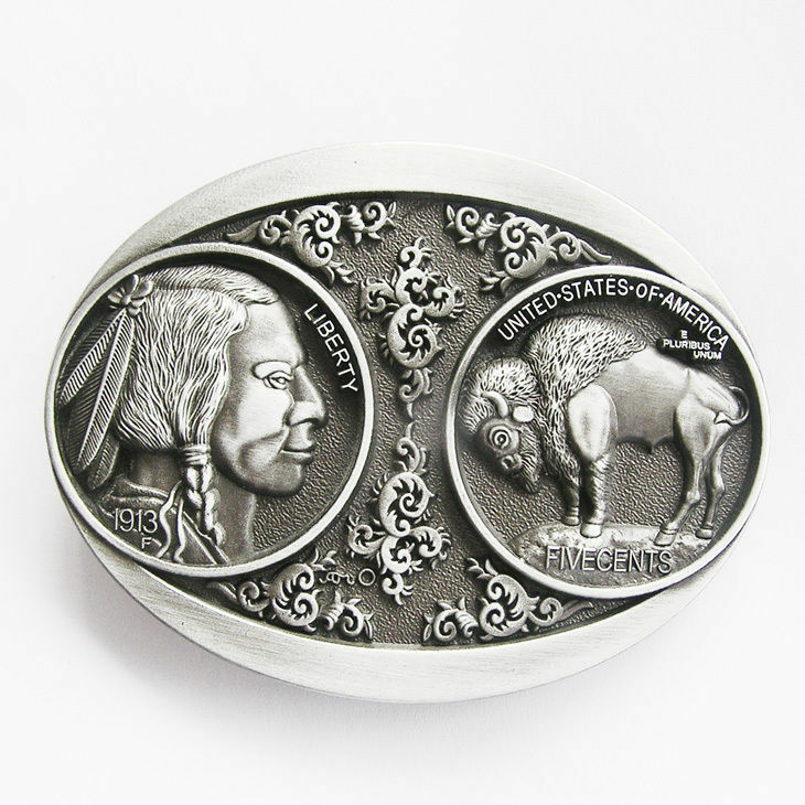 Vintage US 5 Cent Buffalo Nickle Indian Western Metal Belt Buckle
