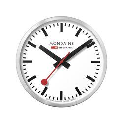Mondaine A995.CLOCK.16SBB Wall Clock Large White Dial Silver Frame, Quartz