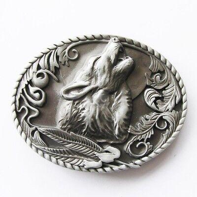 Original Antique Silver Howling Wolf Western Metal Belt Buckle