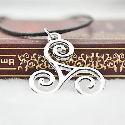 Celtic  Triskele Pendant with 45 cm black cord plus 5 cm extender