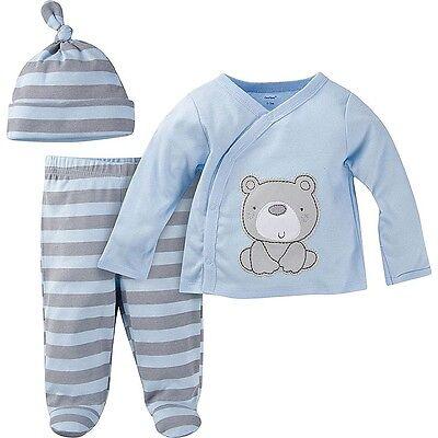 NEW Gerber Newborn Baby Boy 3-Piece Outfit Set Size Newborn Blue Bear
