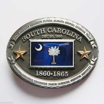 South Carolina SC State Flag Western Metal Belt Buckle