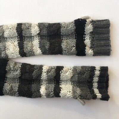 LittleMissMatched Knitted Striped Arm Warmers Black Striped Arm Warmers