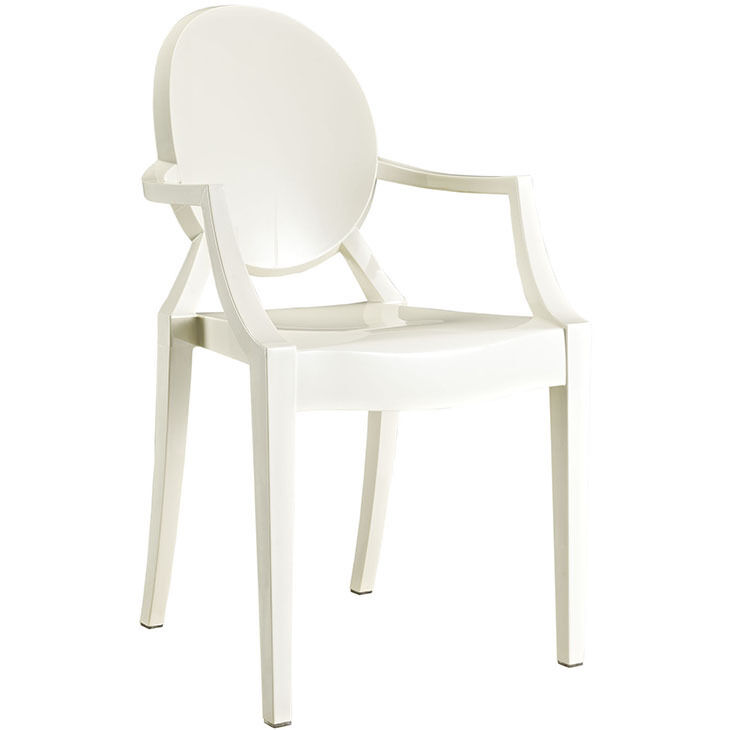 Details about Modern Ghost Chair with Arms in White Polycarbonate Dining  Accent Chairs