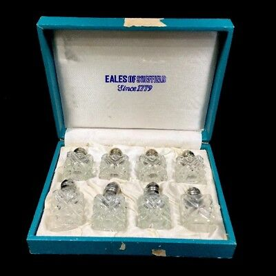Eales 1779 Silverplate Glass Salt and Pepper Shaker VTG Set of 8 Complete W/ Box for sale  San Antonio