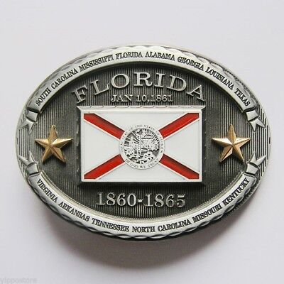 Florida FL State Flag Western Metal Belt Buckle Fl State