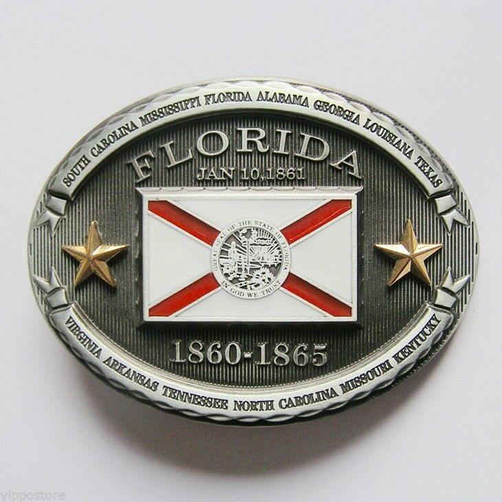 Florida FL State Flag Western Metal Belt Buckle