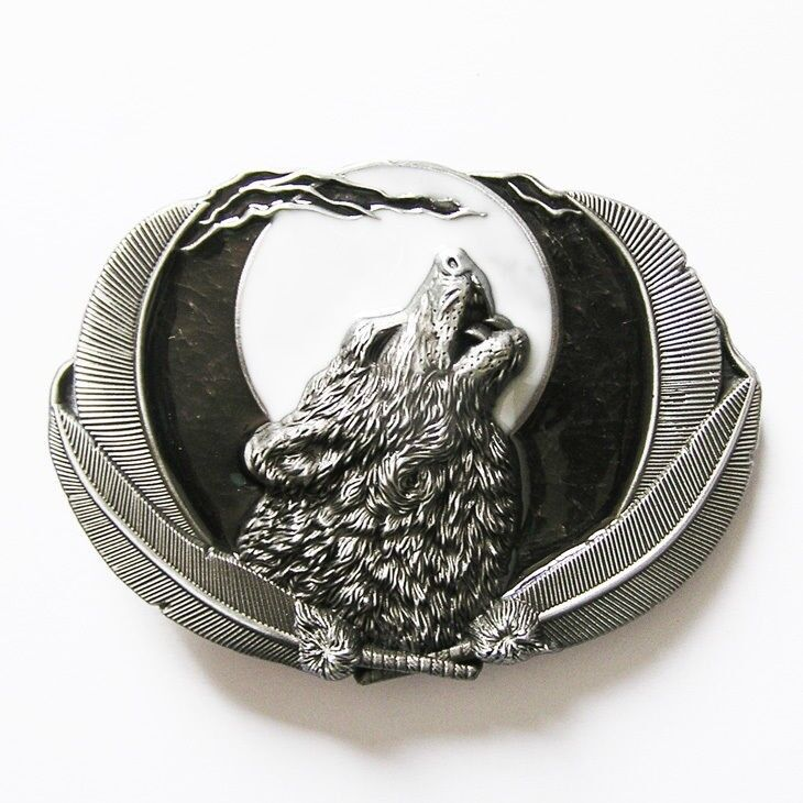 Howling Wolf Moon Western Metal Belt Buckle