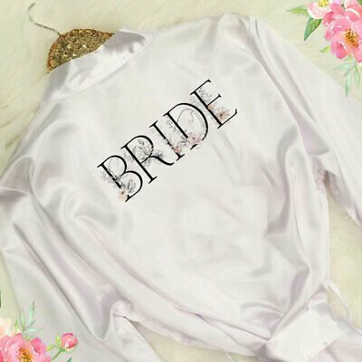 Personalised Bridesmaid Bride Satin Robe Maid Honour Mother Wedding Gown Gift