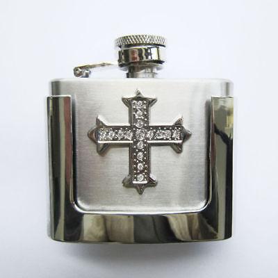 2 oz. Flask Cross Western Metal Removable Belt Buckle Alcohol - Cross Flask