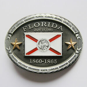 Florida Confederate Rebel State Flag Belt Buckle - New