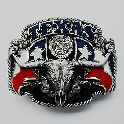 Rockabilly Texas Western Cowboy Longhorn Flagge Gürtelschnalle Beltbuckle *231