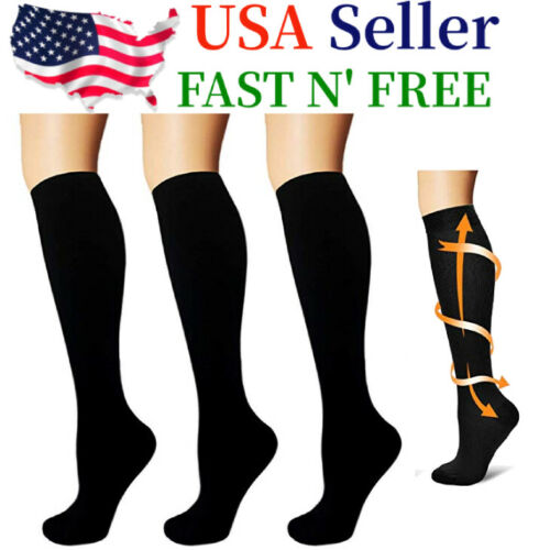 (3 Pairs) Compression Socks Knee High 15-20mmHg Graduated Support Men