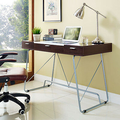 Modern Contemporary Office Computer Desk In Cherry Finish W3 Storage Drawers