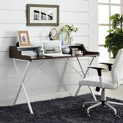Modern Contemporary Office Computer Desk Wcherry Finish Wood Grain Melamine Top