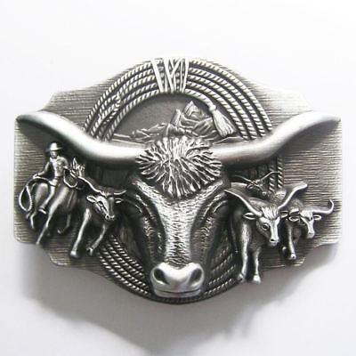 Original Longhorn Bull Bulls Cowboy Rodeo Western Metal Belt Buckle