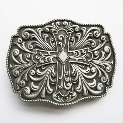 Cross Metal Belt Buckle - Celtic Keltic Cross Flowers Western Metal Fashion Belt Buckle