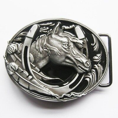Two Tone Black/Silver Horse Horseshoe Cowboy Western Metal Belt Buckle