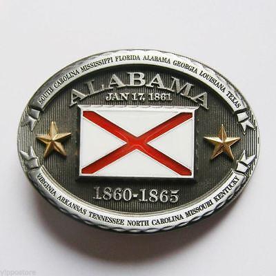 Alabama AL State Flag Western Metal Belt (Flag Metal Belt Buckle)