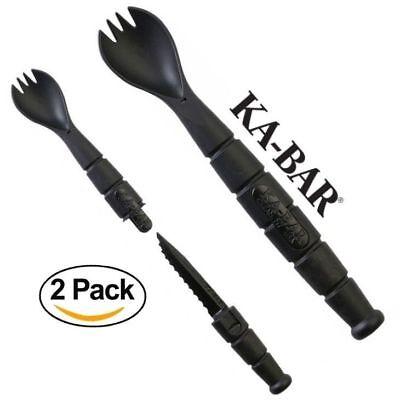 "set 2 pairs 7.25/"" Light blue enamel spoon fork enamelware dishes camping vintage"