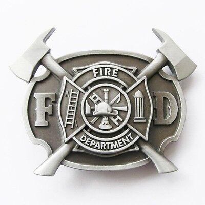 Fire Department FD Firefighter w/ Axes Belt Buckle