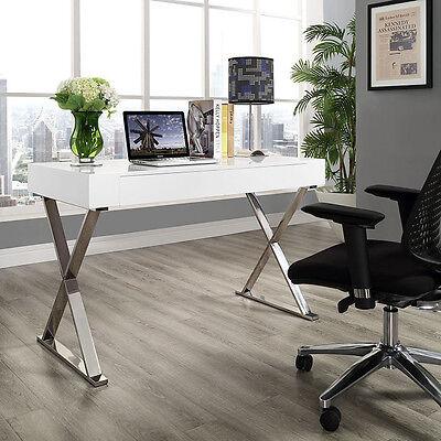 Modern Simple Sleek Design White Office Computer Desk Wstainless Steel Frame
