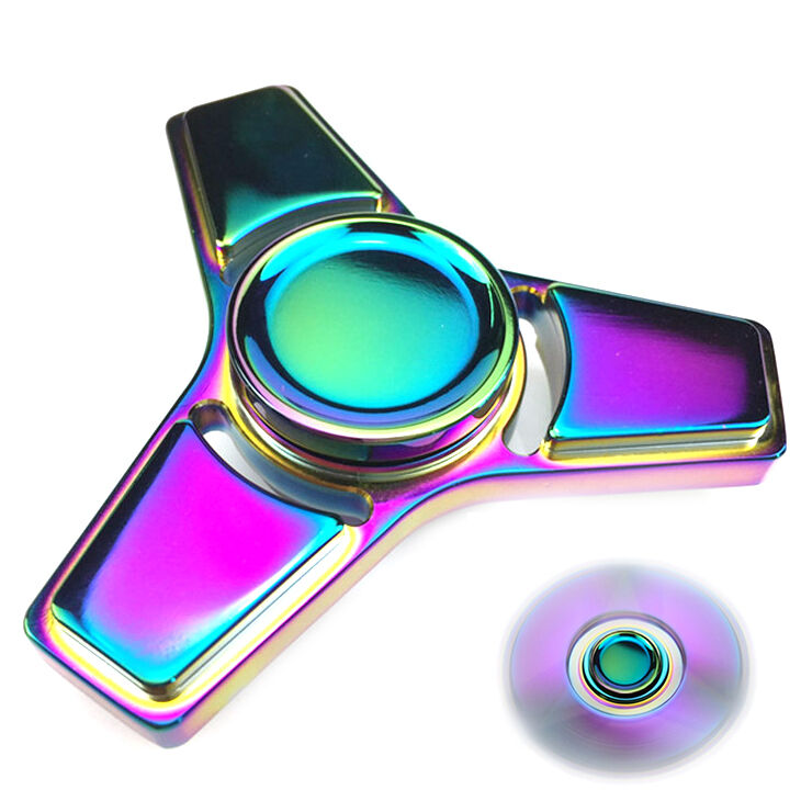 Rainbow Alloy Hand Spinner Tri Fidget Focus Toy EDC Finger Spin Gyro ADHD Autism