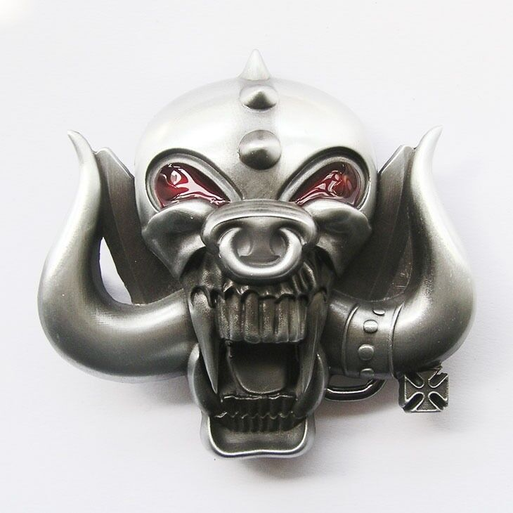 Skull w/ Long Bull Horn Belt Buckle