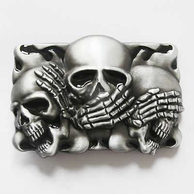 Hear, See, Speak No Evil Shy Skulls Black Flame Belt Buckle