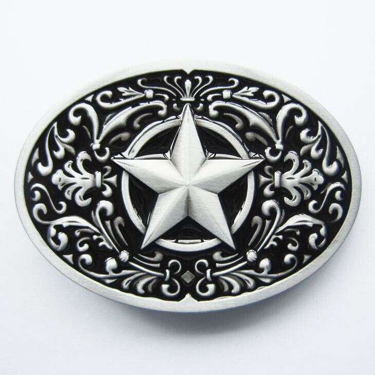 Flower Star Western Black Enamel Metal Fashion Belt Buckle