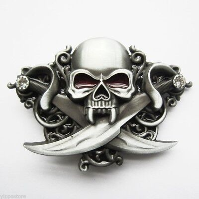 Skull w/ Swords Belt Buckle