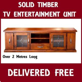 DELIVERED FREE Solid Timber TV Entertainment Unit Lowline 2M+ New Farm Brisbane North East Preview