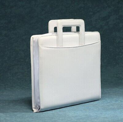 White 3-ring Binder Portfolio Organizer Planner Wretractable Briefcase Handles