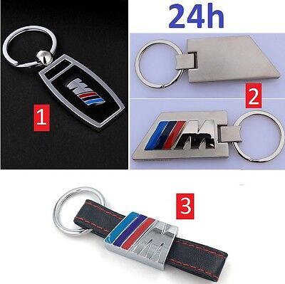 Porte Clés Clef Métal Cuir Voiture Auto BMW M Sport Motorsport Noir Chrome Mat