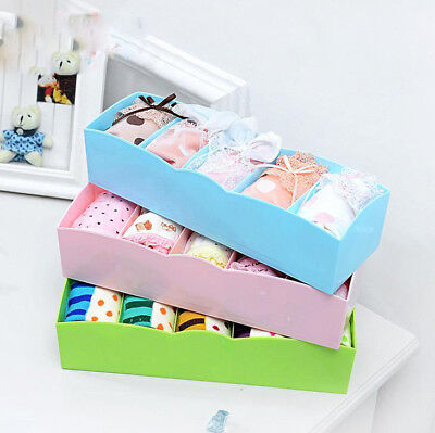 UK Underwear Organizer Storage Box Socks Drawer Cosmetic Divider Tidy 5 Cells