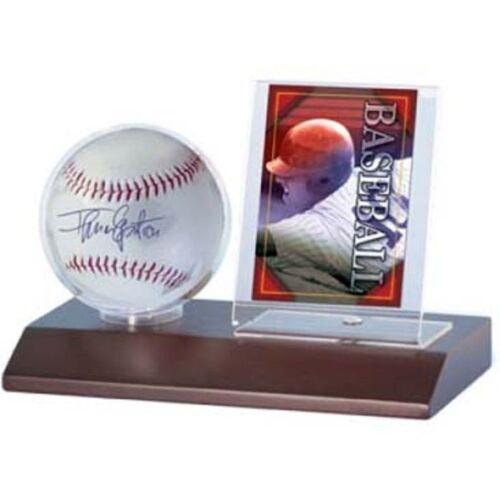 Ultra Pro Display Series Baseball And Card Holder, Dark Wood Base New Protect