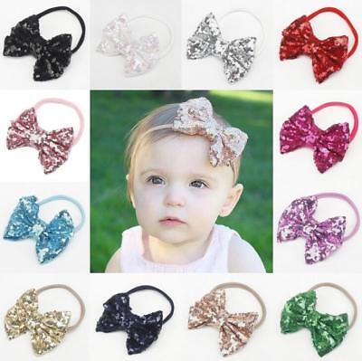 Hot Sale Baby Shining Lovely Nylon Elastic Bowk Headband Girls Hair Accessories