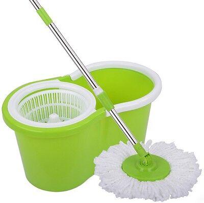 360° Easy Clean Floor Mop Bucket 2 Heads Microfiber Spin Rotating Head Green