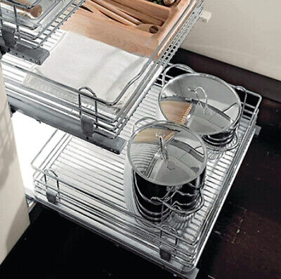 400mm Chrome Wire Basket Base Drawer Soft Close Door Fix Brackets Inc X2 SET 400 Mm Basket