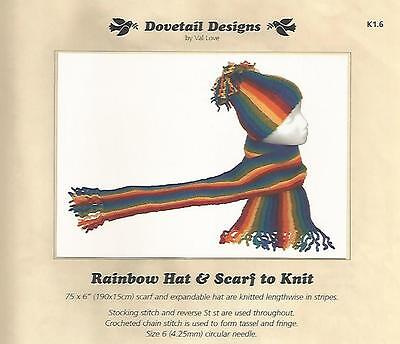 - Rainbow Hat & Scarf to Knit Knitting Instruction Pattern Dovetail Designs NEW