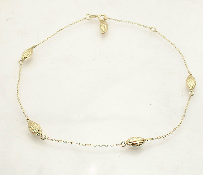 Adjustable Cable Chain Puffed Bullet Ankle Bracelet Ankle...