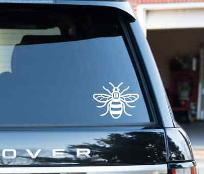 White Manchester Bee Vinyl Decal Sticker Car, Van, Window, Proud to be Mancunian