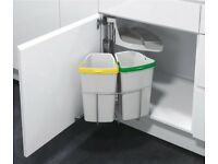 Kitchen Bin - Space Saving Swing Out Dual Bin (400mm Cabinet) 2 x 9 Litre